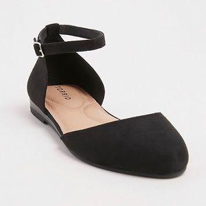 Torrid Black Faux Suede Ankle Strap Flat,8W 9W 10W